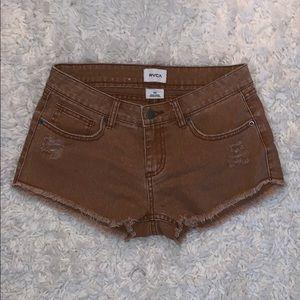 RVCA rustic orange fringe shorts